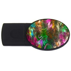Fractal Texture Abstract Messy Light Color Swirl Bright Usb Flash Drive Oval (4 Gb) by Simbadda