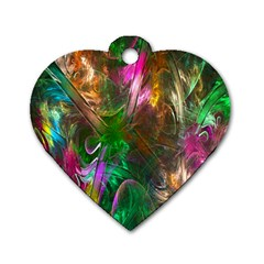Fractal Texture Abstract Messy Light Color Swirl Bright Dog Tag Heart (two Sides) by Simbadda