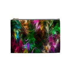 Fractal Texture Abstract Messy Light Color Swirl Bright Cosmetic Bag (medium)  by Simbadda