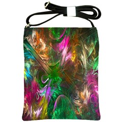 Fractal Texture Abstract Messy Light Color Swirl Bright Shoulder Sling Bags by Simbadda