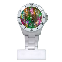 Fractal Texture Abstract Messy Light Color Swirl Bright Plastic Nurses Watch by Simbadda