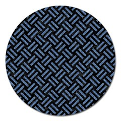 Woven2 Black Marble & Blue Denim Magnet 5  (round) by trendistuff