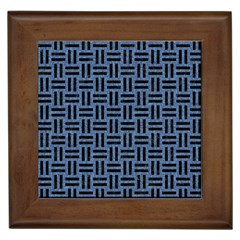 Woven1 Black Marble & Blue Denim (r) Framed Tile by trendistuff