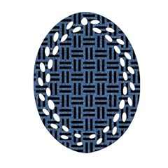 Woven1 Black Marble & Blue Denim (r) Oval Filigree Ornament (two Sides) by trendistuff