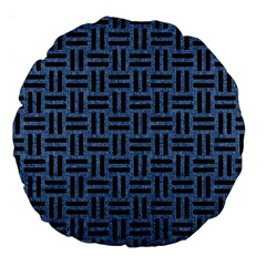 Woven1 Black Marble & Blue Denim (r) Large 18  Premium Round Cushion  by trendistuff