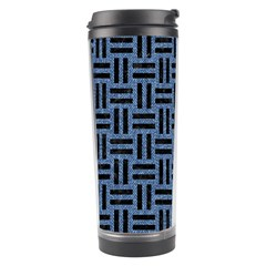 Woven1 Black Marble & Blue Denim (r) Travel Tumbler by trendistuff