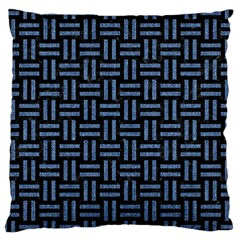 Woven1 Black Marble & Blue Denim Large Cushion Case (two Sides) by trendistuff
