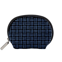 Woven1 Black Marble & Blue Denim Accessory Pouch (small) by trendistuff