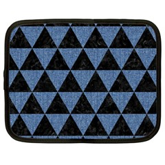 Triangle3 Black Marble & Blue Denim Netbook Case (xxl) by trendistuff