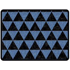 Triangle3 Black Marble & Blue Denim Double Sided Fleece Blanket (large) by trendistuff