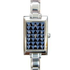Triangle2 Black Marble & Blue Denim Rectangle Italian Charm Watch by trendistuff