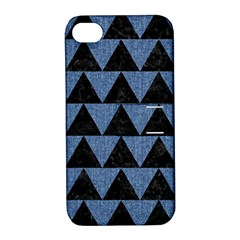 Triangle2 Black Marble & Blue Denim Apple Iphone 4/4s Hardshell Case With Stand by trendistuff