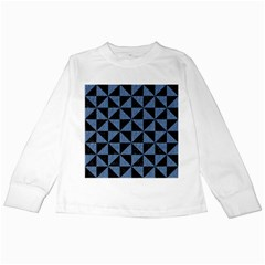 Triangle1 Black Marble & Blue Denim Kids Long Sleeve T Shirt