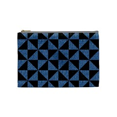 Triangle1 Black Marble & Blue Denim Cosmetic Bag (medium) by trendistuff