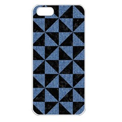 Triangle1 Black Marble & Blue Denim Apple Iphone 5 Seamless Case (white) by trendistuff
