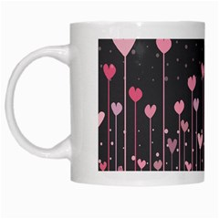 Pink Hearts On Black Background White Mugs by TastefulDesigns