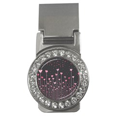 Pink Hearts On Black Background Money Clips (cz)