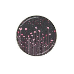 Pink Hearts On Black Background Hat Clip Ball Marker