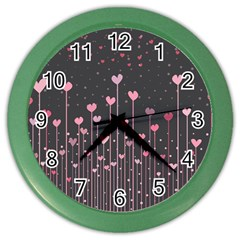 Pink Hearts On Black Background Color Wall Clocks
