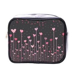 Pink Hearts On Black Background Mini Toiletries Bags
