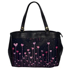 Pink Hearts On Black Background Office Handbags