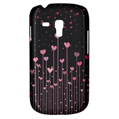 Pink Hearts On Black Background Galaxy S3 Mini