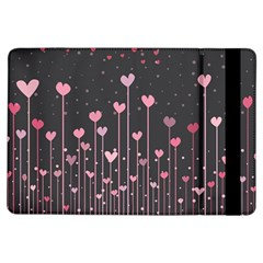 Pink Hearts On Black Background Ipad Air Flip