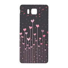 Pink Hearts On Black Background Samsung Galaxy Alpha Hardshell Back Case by TastefulDesigns