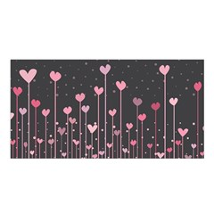 Pink Hearts On Black Background Satin Shawl