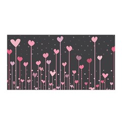 Pink Hearts On Black Background Satin Wrap