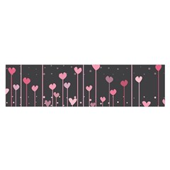 Pink Hearts On Black Background Satin Scarf (oblong)