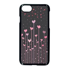 Pink Hearts On Black Background Apple Iphone 7 Seamless Case (black)