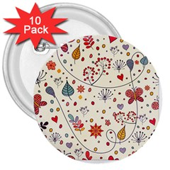 Spring Floral Pattern With Butterflies 3  Buttons (10 Pack)