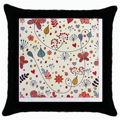 Spring Floral Pattern With Butterflies Throw Pillow Case (black)