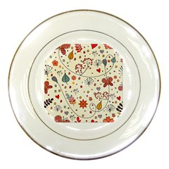 Spring Floral Pattern With Butterflies Porcelain Plates