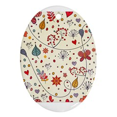 Spring Floral Pattern With Butterflies Oval Ornament (two Sides) by TastefulDesigns