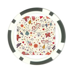 Spring Floral Pattern With Butterflies Poker Chip Card Guard