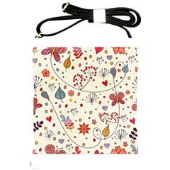 Spring Floral Pattern With Butterflies Shoulder Sling Bags