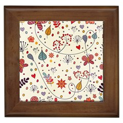 Spring Floral Pattern With Butterflies Framed Tiles