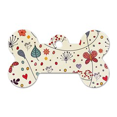 Spring Floral Pattern With Butterflies Dog Tag Bone (one Side)