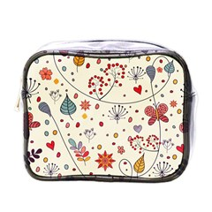 Spring Floral Pattern With Butterflies Mini Toiletries Bags by TastefulDesigns