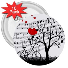 Love Song 3  Buttons (10 Pack)  by Valentinaart