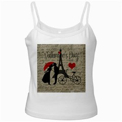 Love Letter - Paris White Spaghetti Tank by Valentinaart