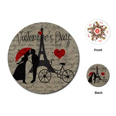 Love Letter   Paris Playing Cards (round)  by Valentinaart