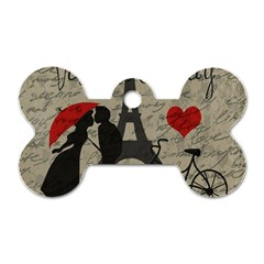 Love Letter   Paris Dog Tag Bone (one Side) by Valentinaart