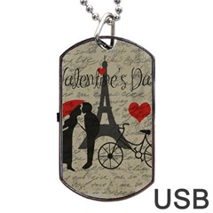 Love Letter   Paris Dog Tag Usb Flash (two Sides) by Valentinaart