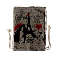 Love Letter   Paris Drawstring Bag (small) by Valentinaart