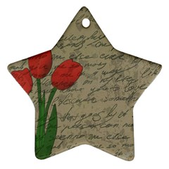 Vintage Tulips Ornament (star) by Valentinaart