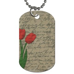 Vintage Tulips Dog Tag (one Side) by Valentinaart