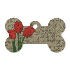 Vintage Tulips Dog Tag Bone (two Sides) by Valentinaart